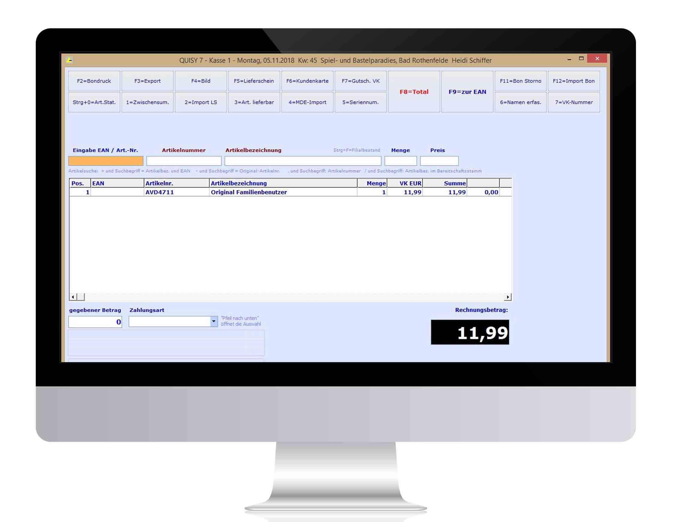 Kassenmodul QUISY 7 - Warenwirtschaft & Kassensystem für Spielwaren, PBS (Papier, Bürobedarf und Schreibwaren) und Bastelbedarf